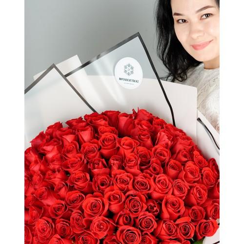 Купить на заказ Букет из 101 красной розы с доставкой в Каскелене