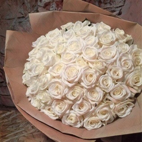 Купить на заказ Букет из 101 белой розы с доставкой в Каскелене